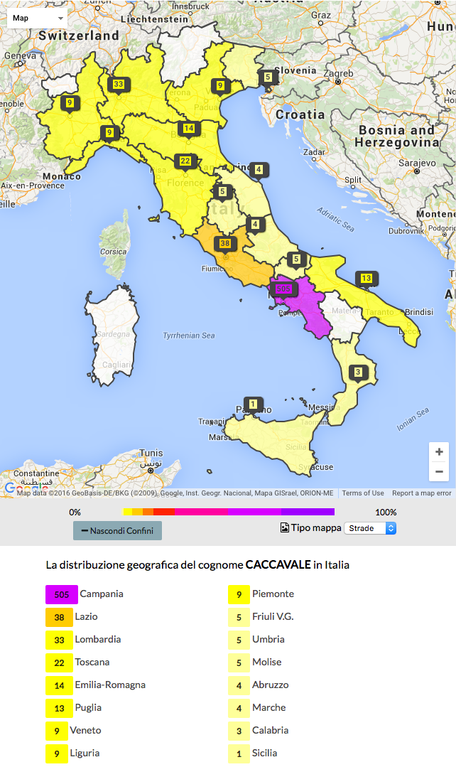 Current distribution of last name Caccavale