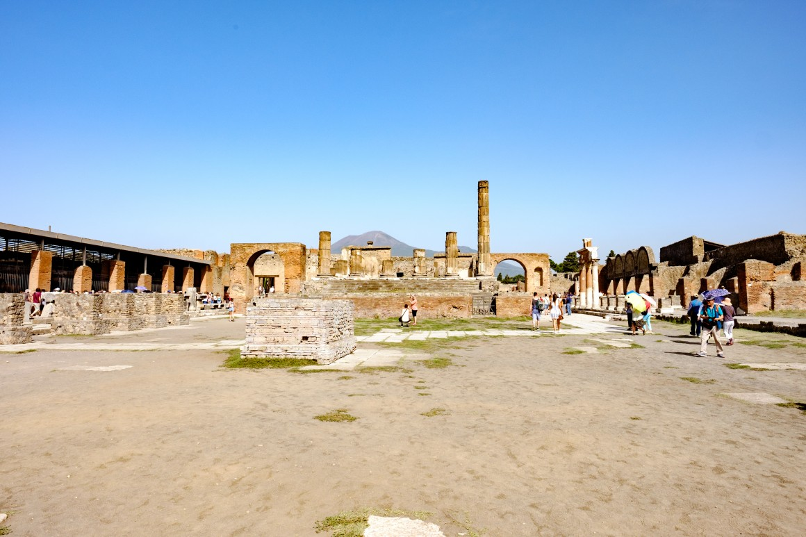 The forum with Mt. Vesuvius in the background